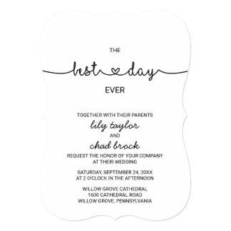 Love Hearts Best Day Ever Wedding Invitation