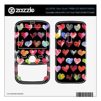 Love Hearts Black Alcatel Phone Skin ALCATEL Tribe Skins