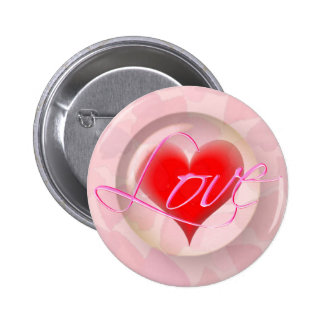 LOVE HEARTS BUBBLE by SHARON SHARPE Pinback Button
