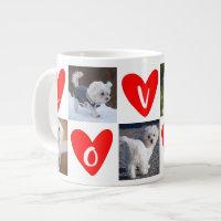 LOVE Hearts Custom 5 Photo Collage Valentine Giant Coffee Mug