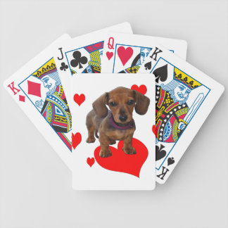 Love (Hearts) Dachsies - Dachshund Bicycle Playing Cards