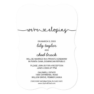 Love Hearts Elopement Reception Card