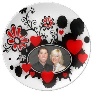Love Hearts Flower Splats Red Black White Wedding Porcelain Plate