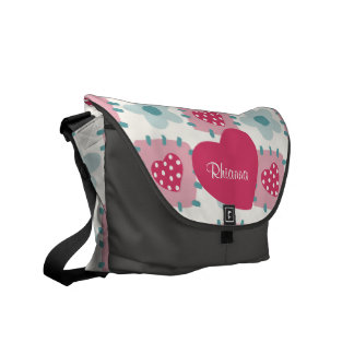 Love Hearts, Flowers and Dots Patchwork Pattern Courier Bag