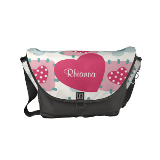 Love Hearts, Flowers and Dots Patchwork Pattern Small Messenger Bag