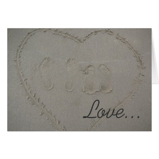 Love- hearts & footprints in the sand at the beach card