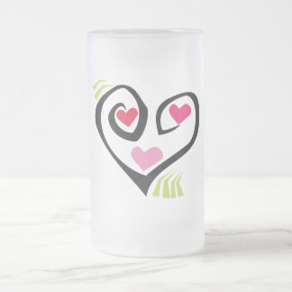 Love Hearts Giftware Frosted Glass Beer Mug