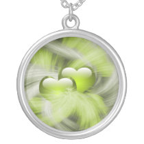 love hearts green silver plated necklace