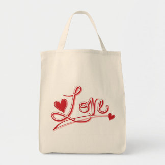 Love Hearts Grocery Canvas Tote Bag