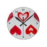 Love Hearts Happy Valentine's Day Pattern Wallclocks