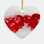 Love Hearts in Snow Double-Sided Heart Ornament