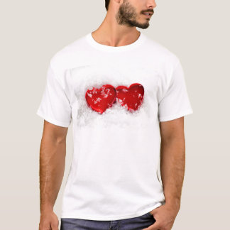 Love Hearts in Snow Men's T-Shirts