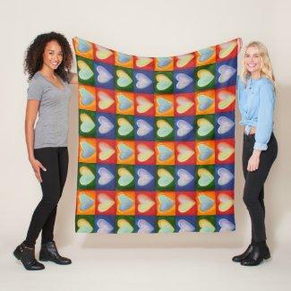 Love Hearts Inspirational Throw Fleece Blankets