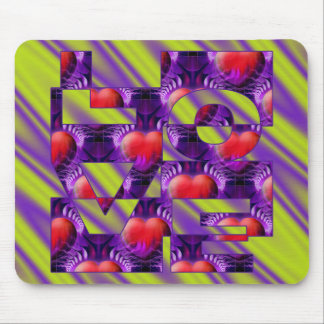 LOVE hearts - lightgreen violet waves Mouse Pad