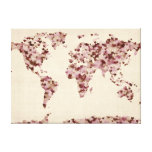 Love Hearts Map of the World Map Stretched Canvas Print