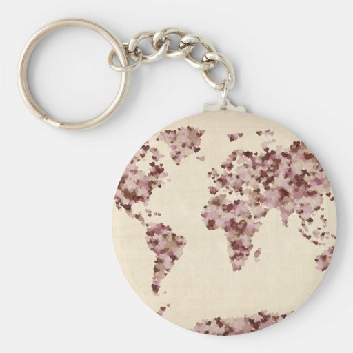 Love Hearts Map of the World Map Key Chains