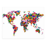 Love Hearts Map of the World Map Post Card