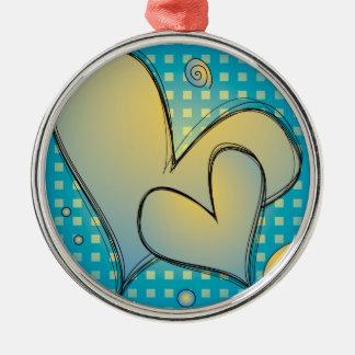 Love hearts metal ornament