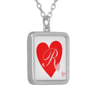 Love Hearts Monogram Square Pendant Necklace