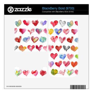 Love Hearts on all Blackberry Phone Skins BlackBerry Bold 9700 Skin