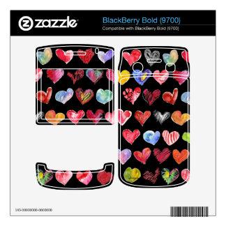 Love Hearts on Black Blackberry Bold Phone Skin BlackBerry Skins