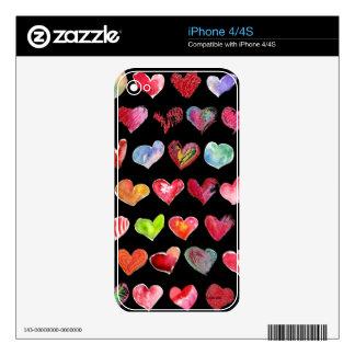 Love Hearts on Black iPhone 4 Skin