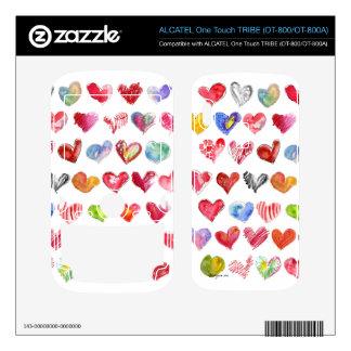 Love Hearts on White Alcatel Phone Skin ALCATEL Tribe Skins