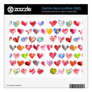 Love Hearts on White Garmin-Asus Phone Skin Garmin Asus Nuvifone Skin