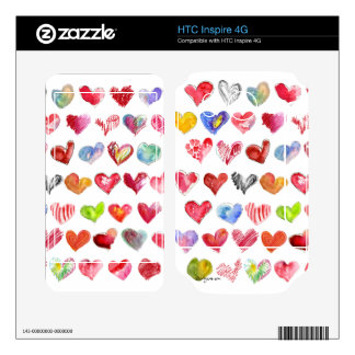Love Hearts on White HTC Inspire Phone Skin Decal For HTC Inspire 4G