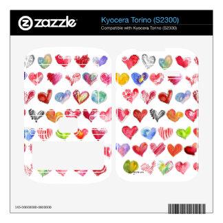 Love Hearts on White Kyocera Phone Skin Skins For Kyocera Torino