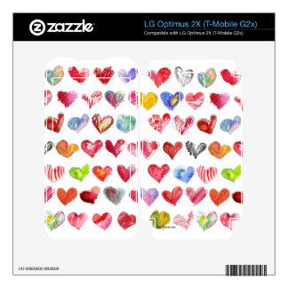 Love Hearts on White LG Phone Skin LG Optimus 2X Decals