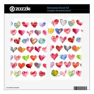 Love Hearts on White Motorola Phone Skin Motorola Droid X2 Decals