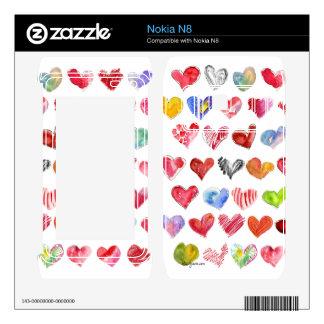 Love Hearts on White Nokia Phone Skin Nokia N8 Skins