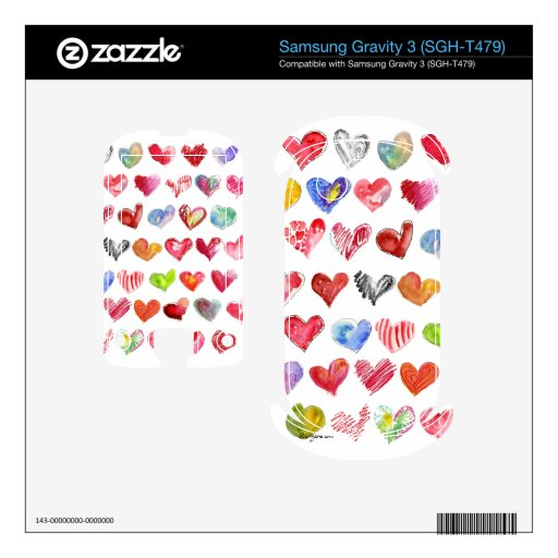 Love Hearts on White Samsung Phone Skin Samsung Gravity 3 Skins