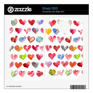 Love Hearts on White Sharp Phone Skin Decals For The Sharp IS03