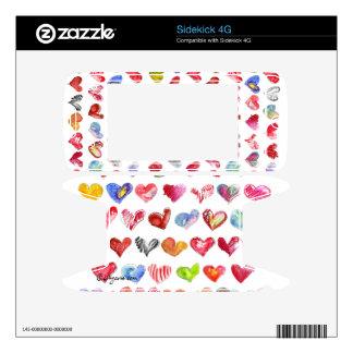 Love Hearts on White Sidekick Phone Skin Decal For Sidekick 4G