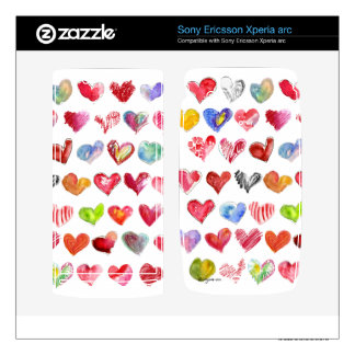 Love Hearts on White Sony Phone Skin Xperia Arc Skin