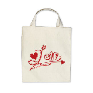 Love Hearts Organic Grocery Canvas Tote Bag