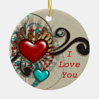 Love Hearts Ornament Round Ceramic Ornament