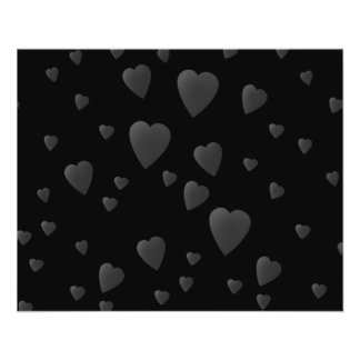 Love Hearts Pattern in Black and Gray. Flyer Design