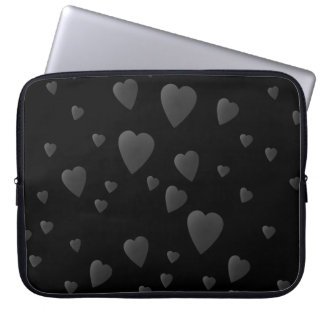 Love Hearts Pattern in Black and Gray. Laptop Sleeve