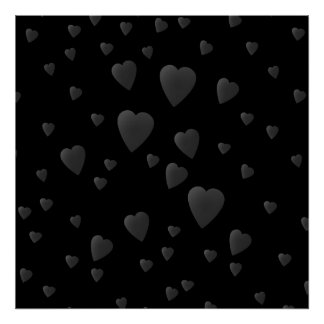 Love Hearts Pattern in Black and Gray. Poster