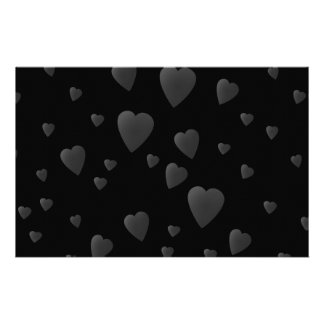 Love Hearts Pattern in Black and Gray. Stationery