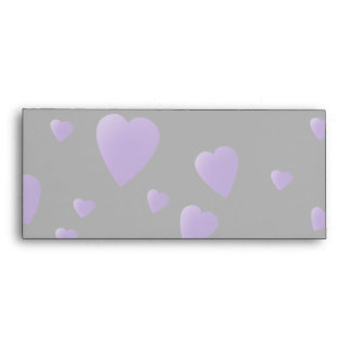 Love Hearts Pattern in Black and Purple. Envelope