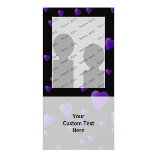 Love Hearts Pattern in Black and Purple. Photo Card