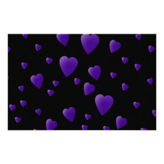Love Hearts Pattern in Black and Purple. Stationery