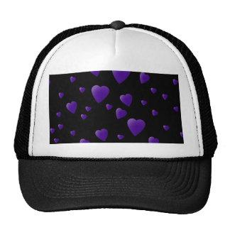 Love Hearts Pattern in Black and Purple. Trucker Hat