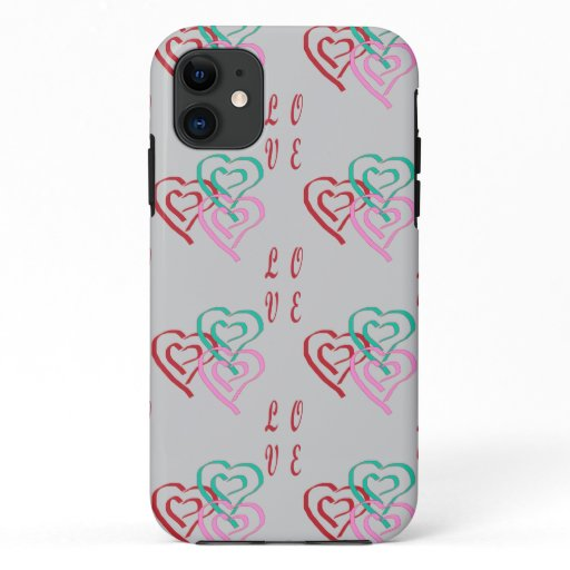 Love Hearts Pattern in Gray Background iPhone 11 Case
