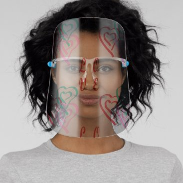Love Hearts Pattern in Gray Background Face Shield
