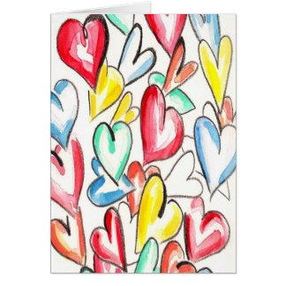 Love Hearts Pencil and Aquarelle Greeting Card
